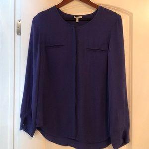 JOIE silk blue/purple button down blouse size M